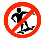 Sign for no skateboarding