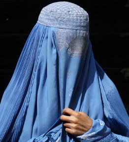 Muslim woman in burqa.